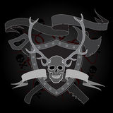 Horned skull coat of arms Royalty Free Stock Photo