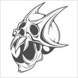 Horned Skull on white Stock Photos
