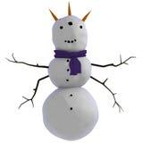 Horned tre, tre synade, beväpnade fyra, främmande seende snowman Royaltyfri Illustrationer