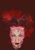 Horned woman. Digital art Stock Image