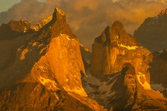 Hornes of Torres del Paine Stock Photography