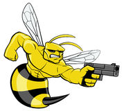 Hornet character pointing a gun Stock Photos
