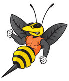 Hornet Mascot. Personified hornet or yellow jacket character with dark features royalty free illustration