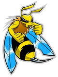 Hornet mascot. Cartoon hornet mascot on the white background Stock Photos