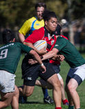 Hornets Tackling. A Sacramento Blackhawk (red)  player attempts to evade tacklers by Sacramento   Hornet players  at a rugby tournament in Redding, California Stock Images