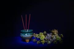 Hornilla de incienso con vida de la flor-aún Foto de archivo libre de regalías