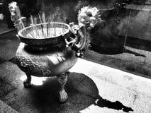 Hornilla de incienso dramática del dragón blanco y negro foto de archivo libre de regalías
