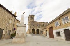 Hornillos del Camino street village, Burgos, Santiago de compostela Royalty Free Stock Photos