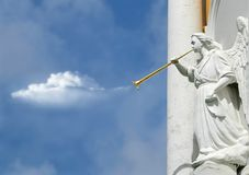 Horning Angel Statuette Royalty Free Stock Photo