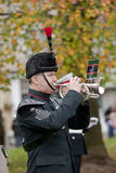 Hornist, der dem letzten Pfosten den Erinnerung-Tag klingt stockfotos