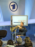 Hornist Felix Klieser alla fiera del libro 2014 di Francoforte Fotografie Stock