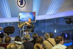 Hornist Felix Klieser alla fiera del libro 2014 di Francoforte Immagine Stock Libera da Diritti