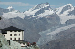 Hornli Hut on Matterhorn Stock Photo