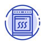 Horno, cocina, microonda, cocinando la línea de puntos azul línea icono libre illustration