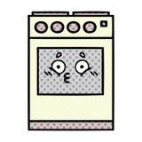horno de la cocina de la historieta del estilo del c?mic libre illustration