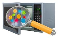 Horno de microondas con los gérmenes y los bacterias debajo de la lupa representaci?n 3d stock de ilustración