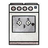 horno retro de la cocina de la historieta de la textura del grunge ilustración del vector
