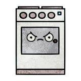 horno retro de la cocina de la historieta de la textura del grunge stock de ilustración