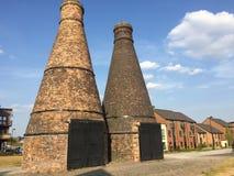 Hornos de la botella del ladrillo en Staffordshire fotos de archivo libres de regalías