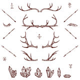Horns, cristals, arrows, feather. Illustrated design elements set.Tribal elements. vector Stock Photos