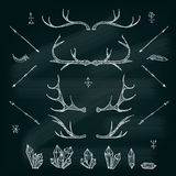 Horns, crystals, arrows, feather. Illustrated design elements set.Tribal elements. EPS vector Royalty Free Stock Images
