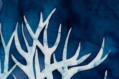 Horns of deer, mystical tree, turquoise. Hot batik, background texture, handmade on silk, abstract surrealism art stock image