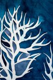 Horns of deer, mystical tree, turquoise. Hot batik, background texture, handmade on silk, abstract surrealism art royalty free stock image