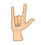Horns hand, satan sign finger up gesture.  Royalty Free Stock Photography