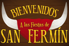 Horns and Handkerchief with Greeting Message for San Fermin, Vector Illustration. Banner with bull horns behind a red handkerchief and greeting message over a Stock Photography