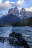 The Horns Los Cuernos and lake Pehoe at torres Del Paine nati. Onal park , Patagonia, Chile. Strong winds stock photo