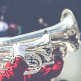 Horns in marching band Royalty Free Stock Photos