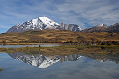 The Horns of Paine Grande and Torres del Paine Stock Photos