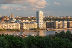 Hornsbergs strand in Stockholm at sunset stock images