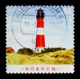 Hornum, Sylt budował 1907, latarni morskiej seria około 2007, Zdjęcia Stock