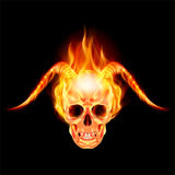 Horny devil. Scary skull on fire with demon flaming horns Royalty Free Stock Photography
