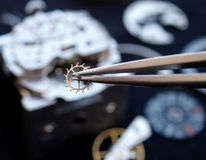 Horology. Close up of watchmaker working on vintage watch Stock Images