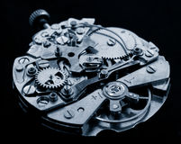 Horology. Vintage watch machinery macro detail monochrome Royalty Free Stock Photo