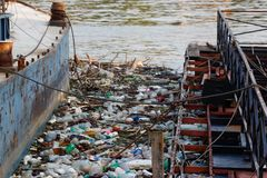 Horor on the river- Plastic garbage on the river shore