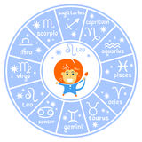 Horoscop signs-09. Zodiac sign Leo with horoscope symbols wheel isolated on white background. Design elements for flyers or greeting cards stock illustration