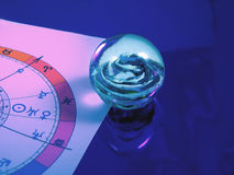 Horoscope. Astrological horoscope plan with a glass sphere beside it stock photo