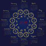 2015 Horoscope calendar. With zodiacal signs stock illustration