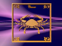 Horoscope, Cancer. Zodiac horoscope brass logo cancer, 3D illustration, background, wallpaper, clipping path copy space Royalty Free Stock Photography