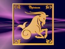 Horoscope, Capricorn. Zodiac horoscope brass logo capricorn, 3D illustration, background, wallpaper, clipping path copy space Stock Photography
