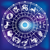 Horoscope circle. The zodiacal circle in the night sky Stock Images