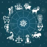 Horoscope circle against the stellar sky. Zodiac signs. Stock Photo