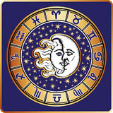 Horoscope circle.All zodiac sign,moon,sun Stock Photo