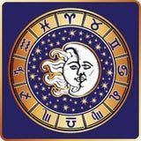 Horoscope circle.All zodiac sign,moon,sun Stock Photo