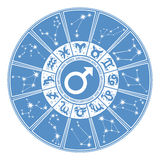 Horoscope circle for man.Zodiac sign,gender Stock Images