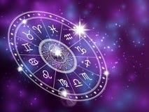Horoscope circle on shiny backgroung - space backdrop with white astrology circle. Horoscope zodiac, symbols of aries and aquarius, sagittarius and scorpio Royalty Free Stock Images