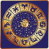 Horoscope circle.Zodiac sign,constellations,moon Royalty Free Stock Photos